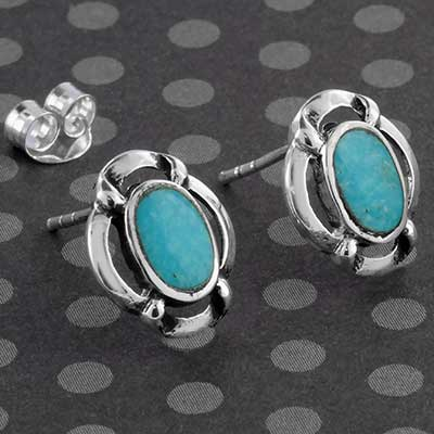 Framed Turquoise and Silver Earring Studs