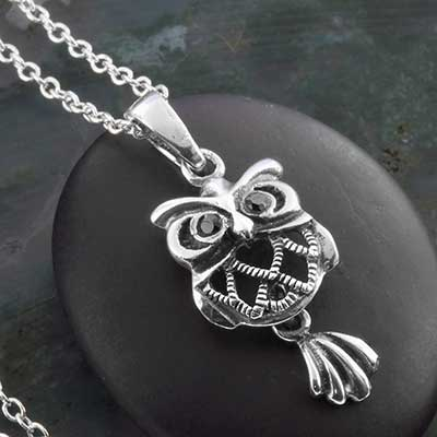 Silver Dancing Owl Necklace