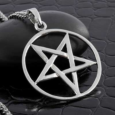 Silver Hollow Pentagram Necklace