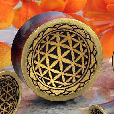 Dark Tamarind Wood with Flower of Life Plug