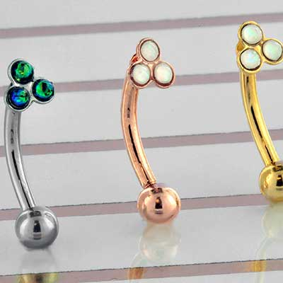 Trio Synthetic Opal Curved Barbell