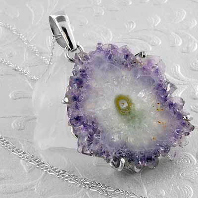 Amethyst Stalactite and Silver Necklace