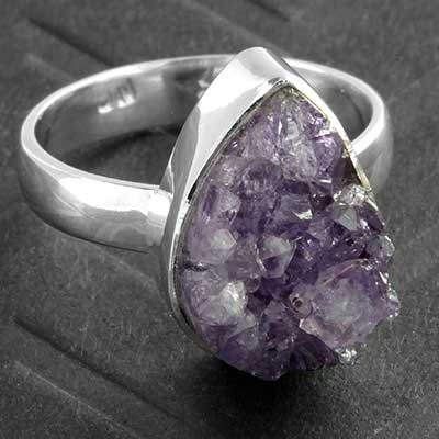 Silver and Teardrop Amethyst Druzy Ring
