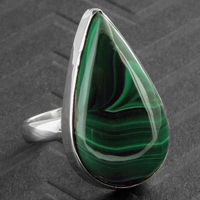 Silver and Malachite Ring