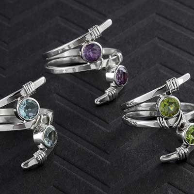Silver Coil Ring with Gemstones