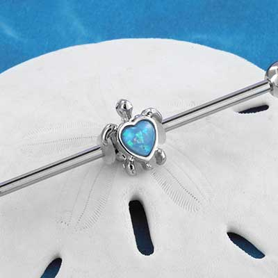 Synthetic Opal Turtle Industrial Barbell