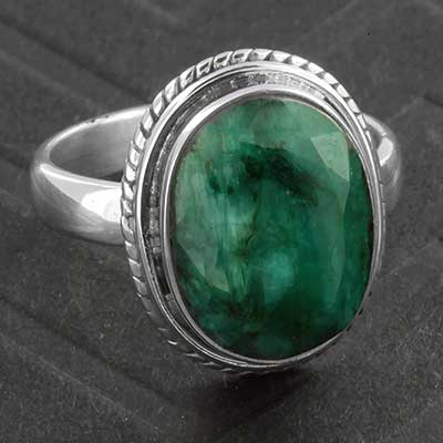 Silver and Faceted Indian Emerald Ring