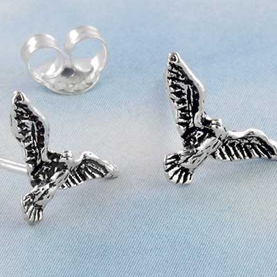 Silver Flying Bird Stud Earrings