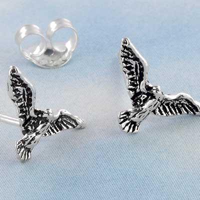 Silver Flying Bird Stud Earrings