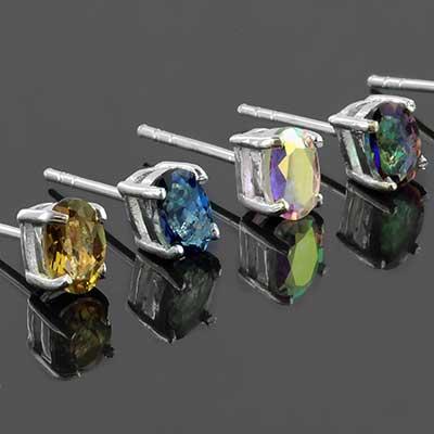 Silver Oval Earring Studs