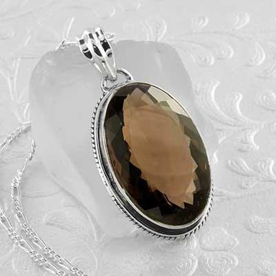 Smokey Quartz and Silver Necklace