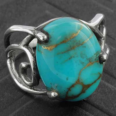 Faux Turquoise and Silver Ring