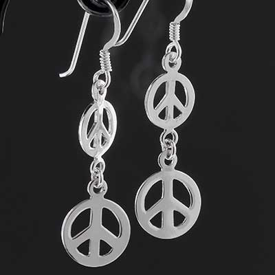 Silver Double Peace Sign Earrings