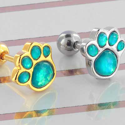 Synthetic Blue Opal Pawprint Barbell