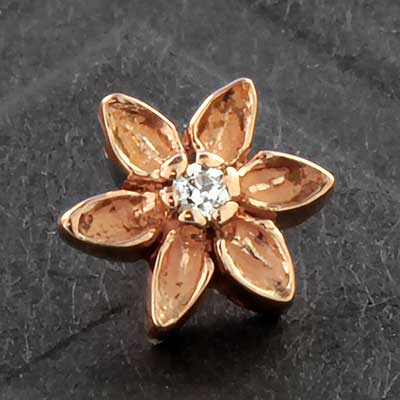 Threaded 14k Gold Lotus End
