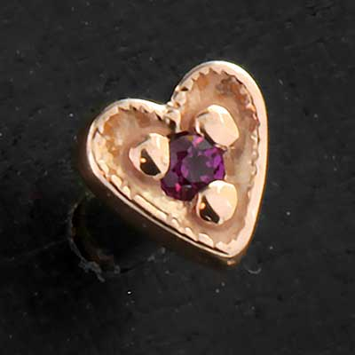 Threaded 14k Gold Gemmed Heart End