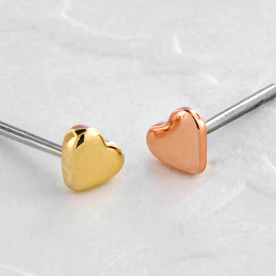 Threadless 14k Gold Heart End