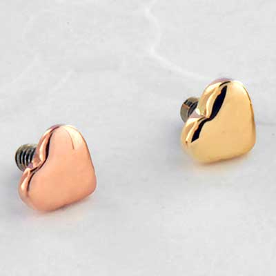 Threaded 14k Gold Heart End