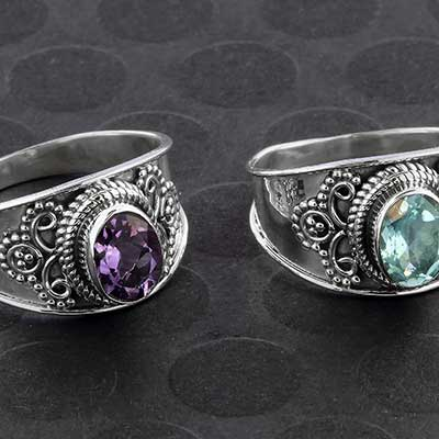 Silver and Ornate Gemstone Ring