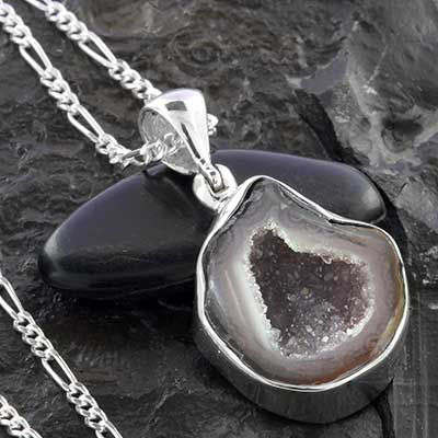 Geode and Silver Necklace
