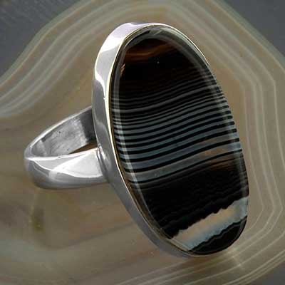 Silver and Black Agate Ring