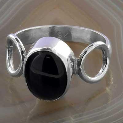 Silver and Black Onyx Circles Ring