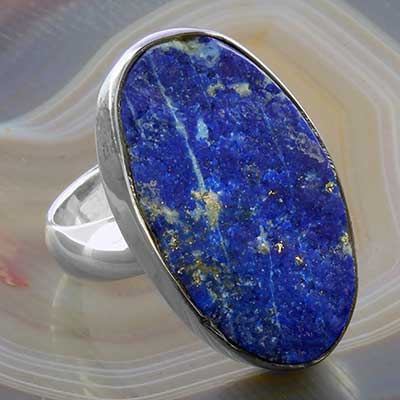 Silver and Rough Lapis Ring