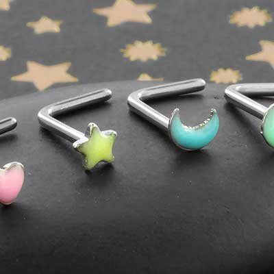 Glow in the Dark Assorted Shape Nosescrew