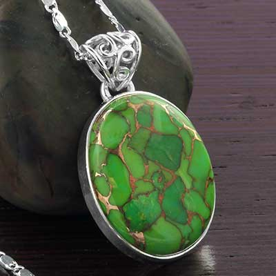 Green Bronze Boulder and Silver Necklace