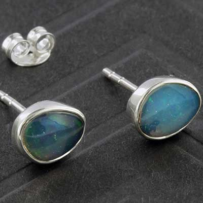 Silver and Ethiopian Opal Earrings