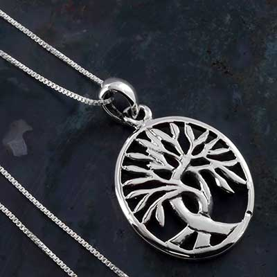 Silver Oval Celtic Tree of Life Necklace