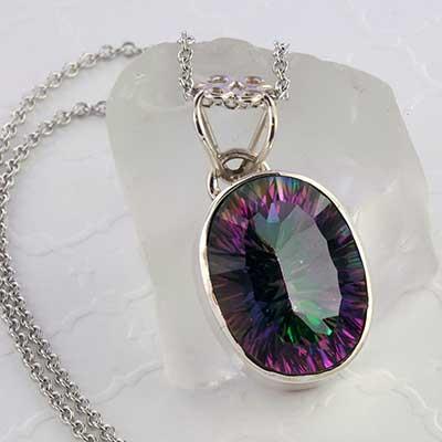 Mystic Quartz and Silver Necklace