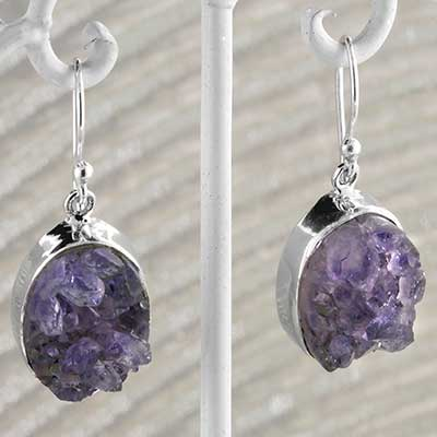 Silver and Amethyst Druzy Earrings