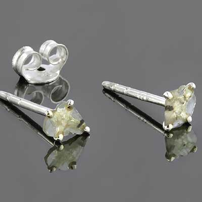 Silver and Genuine Rough Diamond Earrings