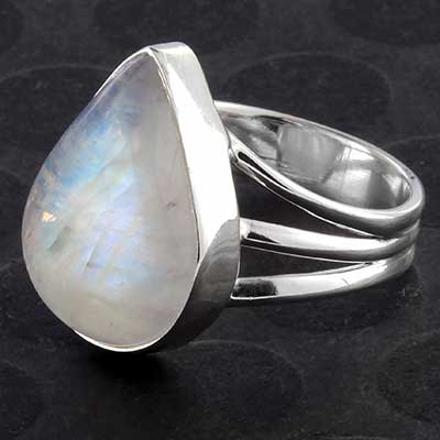 Silver and Rainbow Moonstone Teardrop Ring