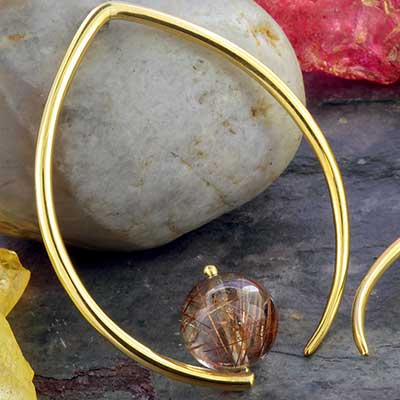 Solid Brass Dew Drop Design with Rutilated Quartz