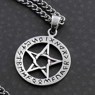 Silver Rune Pentacle Necklace