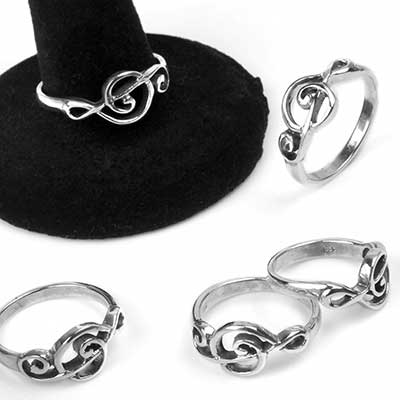 Silver Music Treble Cleft Ring