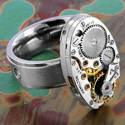 Antique Oval Hamilton Gear Ring