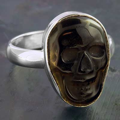 Silver and Golden Obsidian Skull Ring