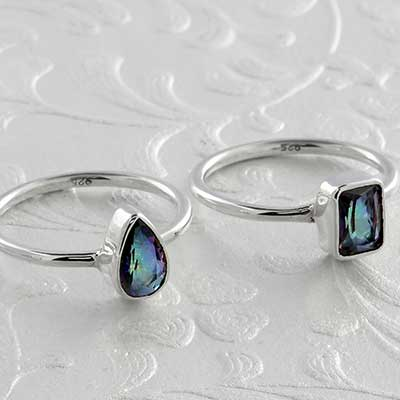 Silver Petite Mystic Quartz Shape Ring
