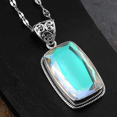 Aurora Gemstone and Silver Necklace