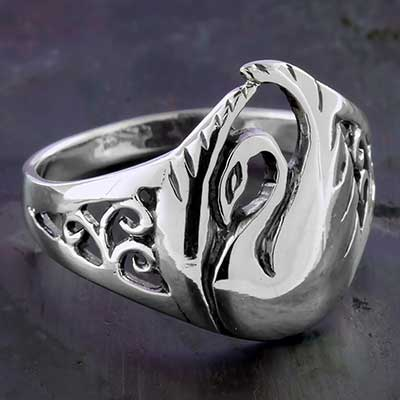 Silver Swan Ring