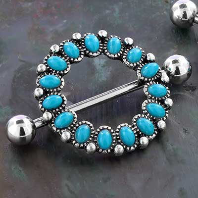 Beaded Synthetic Turquoise Nipple Shield