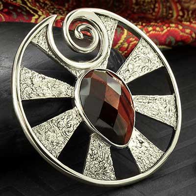 White Brass Eye of Shiva Design with Red Tiger Eye