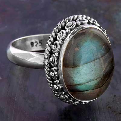 Silver and Framed Labradorite Ring