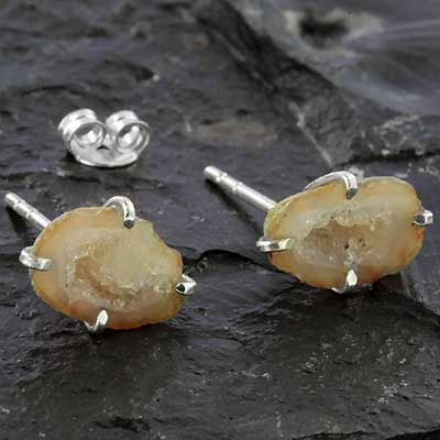 Silver and Geode Earrings
