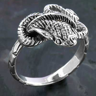 Silver Twisted Cobra Ring