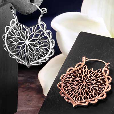 Geometric Flower Hoops
