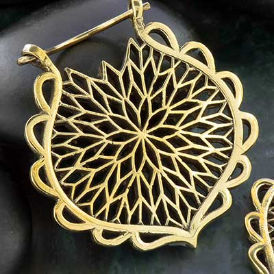 Brass Geometric Flower Hoops